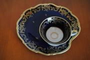 Элитная немецкая пирожковая тарелка с чашкой кобальт