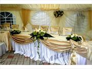 Арка на свадьбу,  текстиль на прокат,  букет невесты,  оформление свадьбы