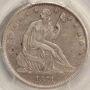 Доллар с сидящей Свободой, серебро 1871 год