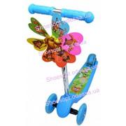 Самокат детский трехколесный с ветрячком голубой колеса светятся