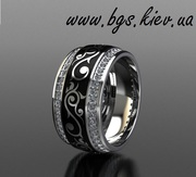 Золотое кольцо с эмалью заказать в Киеве