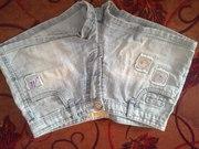 Шорты,  S(44),  голубые,  джинс,  с карманчиками