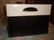 Женская, стильная, эксклюзивная, лаковая, кожзаменитель, чёрно-белая сумка.