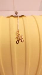Золотая подвеска «Буква Н» с камнями,  вес 0, 53 г.