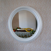 Зеркало настенное круглое в деревянной раме для ванной и туалета,  спал