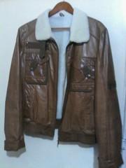 Куртка короткая,  кожа,  натуральных мех. Размер 48