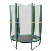 Батут детский Jump-2-Sky 140см зеленый с сеткой