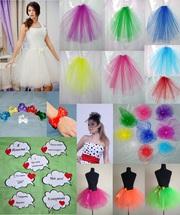 Фата,  юбки,  цветы,  бантики,  шляпки для девичника
