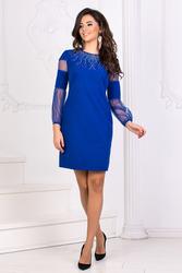 Коктейльное платье с рукавами цвета электрик