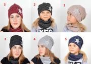 Комплект шапка и хомут,  демисезонный набор,  модель 033