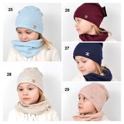 Девочкам шапка и хомут,  трикотажный комплект,  модель 041