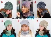 Девочкам демисезонная шапка,  хомут,  комплект 053,  р. 50-56